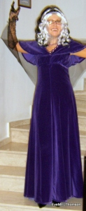 """I kept this dress I made long ago.  Add net """"wings"""", cobweb gloves, a wig and pointy teeth and become a vampire!"""