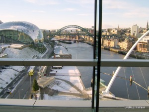 A city view of Newcastle, UK taken from inside The Baltic cultural centre.