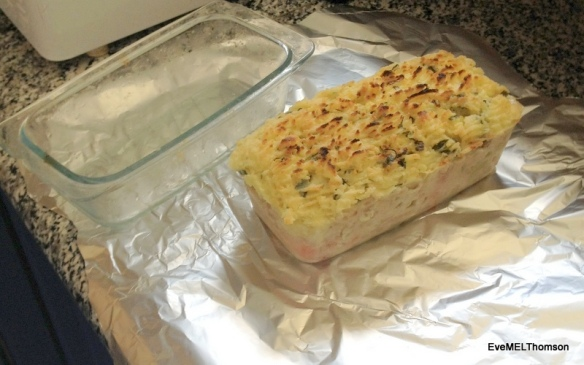 Cooked seafood pie ready for wrapping
