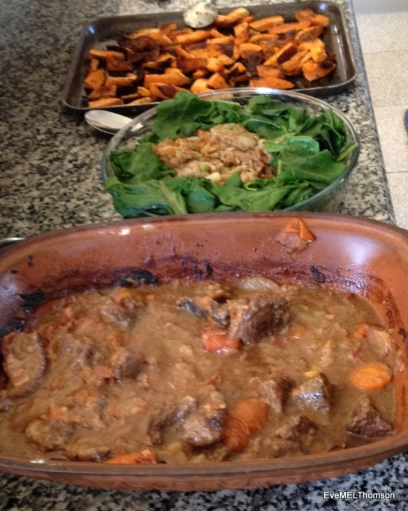 Shared cooking-meat casserole, spicy cauliflower with pak choi and sweet potato wedges