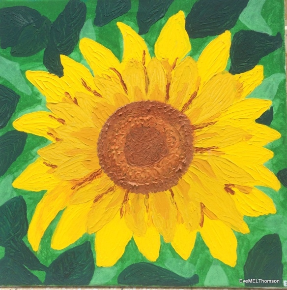 Sunpetals-Be drawn into the giant, welcoming, bold ochre petals of the sunflower.
